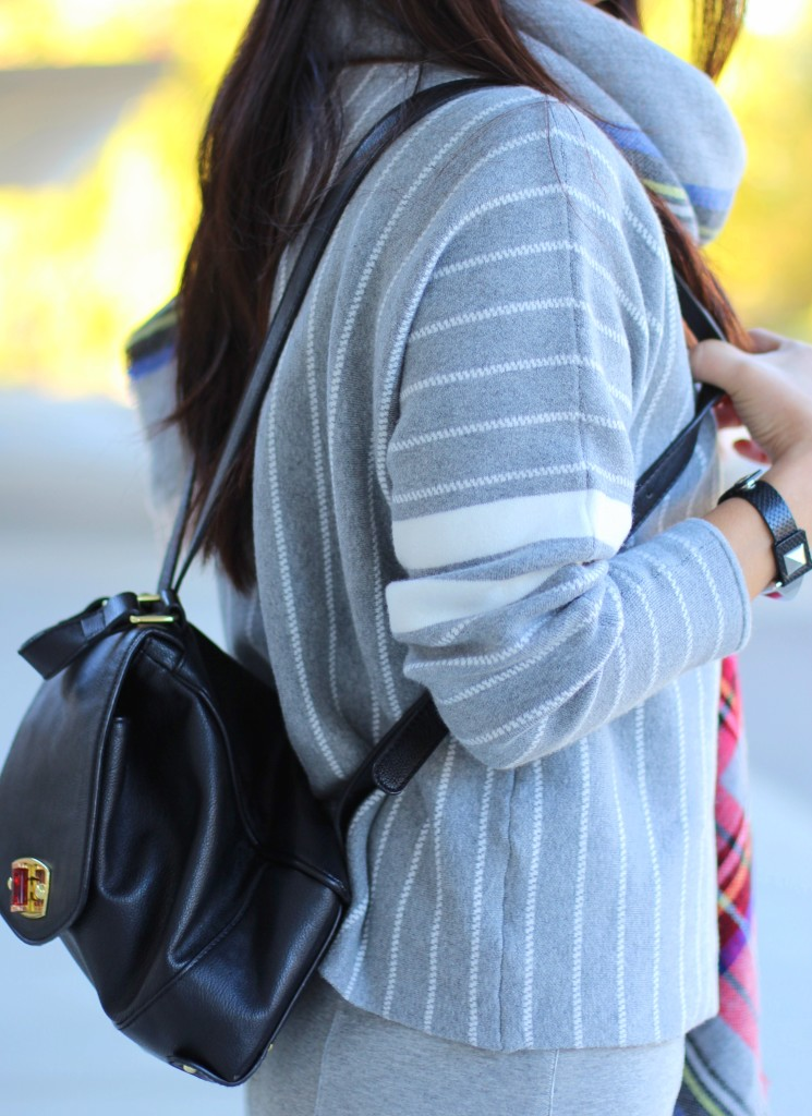 Banana Republic stripe sweater, Forever 21 plaid scarf, grey, Target backpack, fall fashion, casual chic