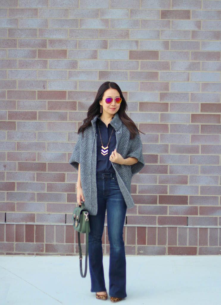 skinny flare jeans, bell bottoms, bell sleeves, Tory Burch, the Gap, Kate Spade olive crossbody, bell sleeve cardigan, Sam Edelman leopard pumps, calfskin, Madewell arrow necklace