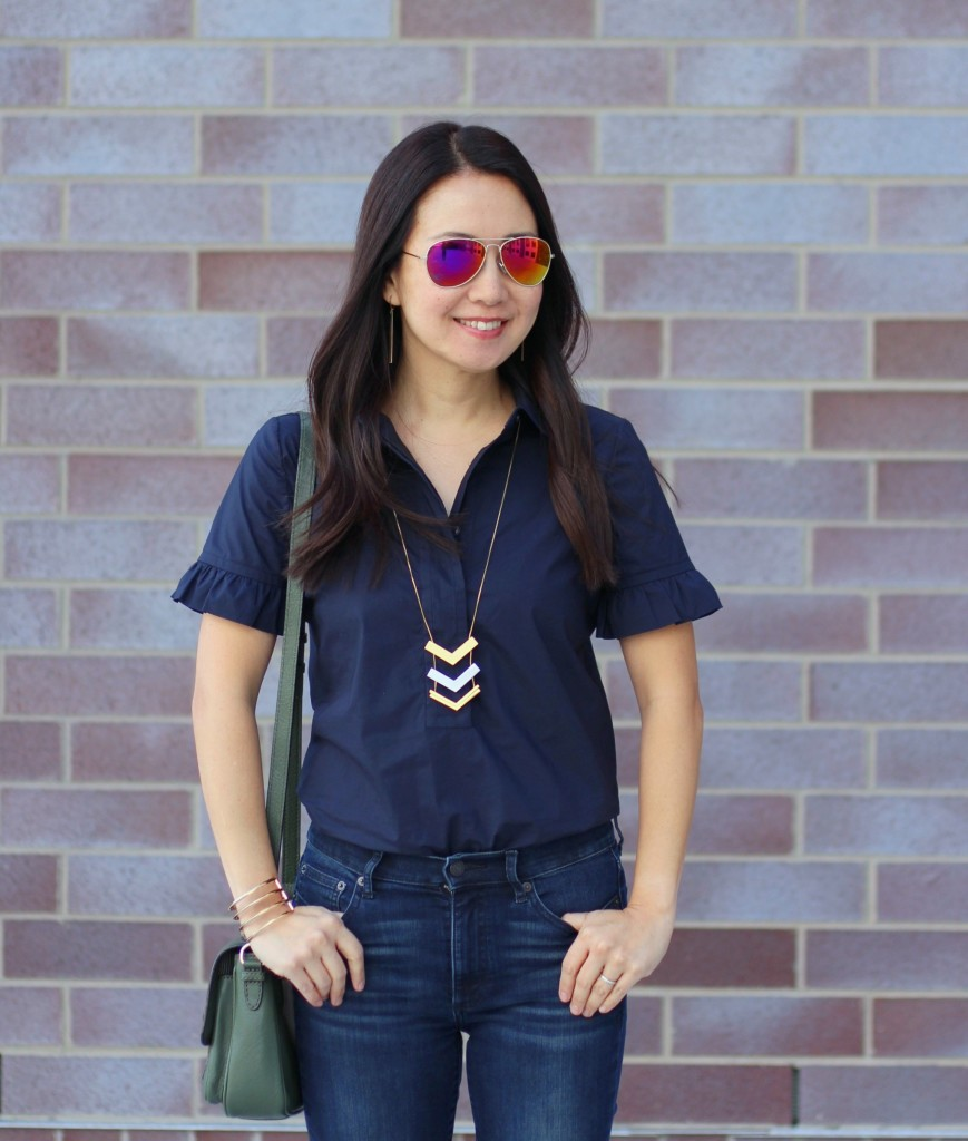 skinny flare jeans, bell bottoms, bell sleeves, Tory Burch, the Gap, Kate Spade olive crossbody, Madewell arrow necklace