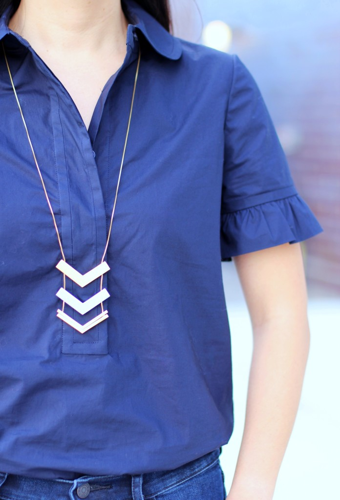 bell sleeves, Tory Burch, Madewell arrow necklace