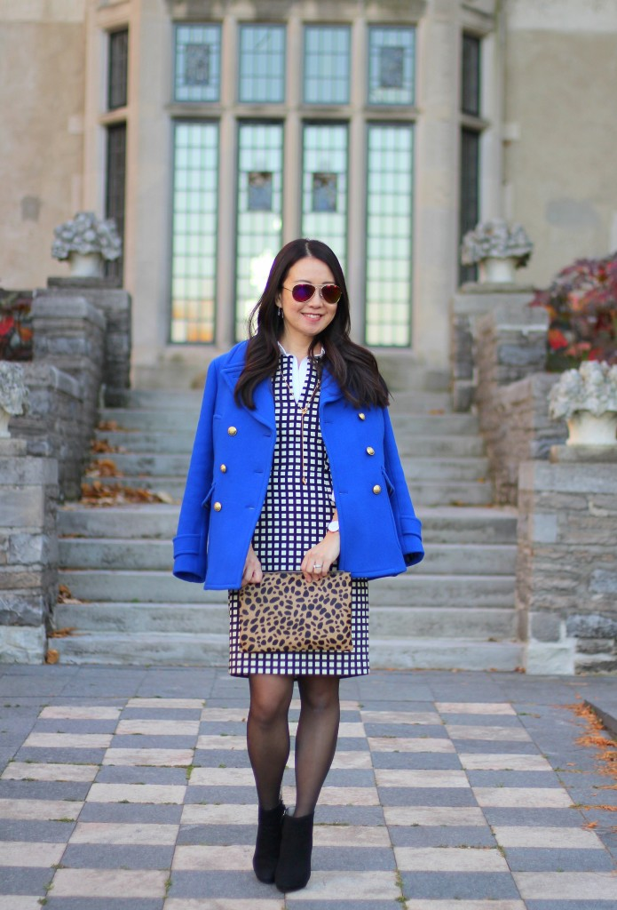 J.Crew peacoat, cobalt blue, bold colors, J.Crew grid print dress, windowpane, bold prints, Zara booties, Clare V. clutch, leopard print, fall fashion, fall to winter, boldness