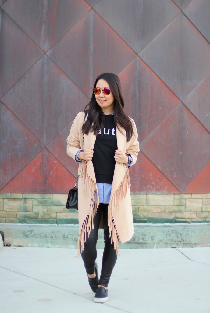 SheIn, fringe camel jacket, Banana Republic haute sweatshirt, chambray, Express moto leggings, Vans slip-ons, Rebecca Minkoff crossbody, fall must-haves, fall fashion, casual chic, fringe jacket, Vans slip-ons