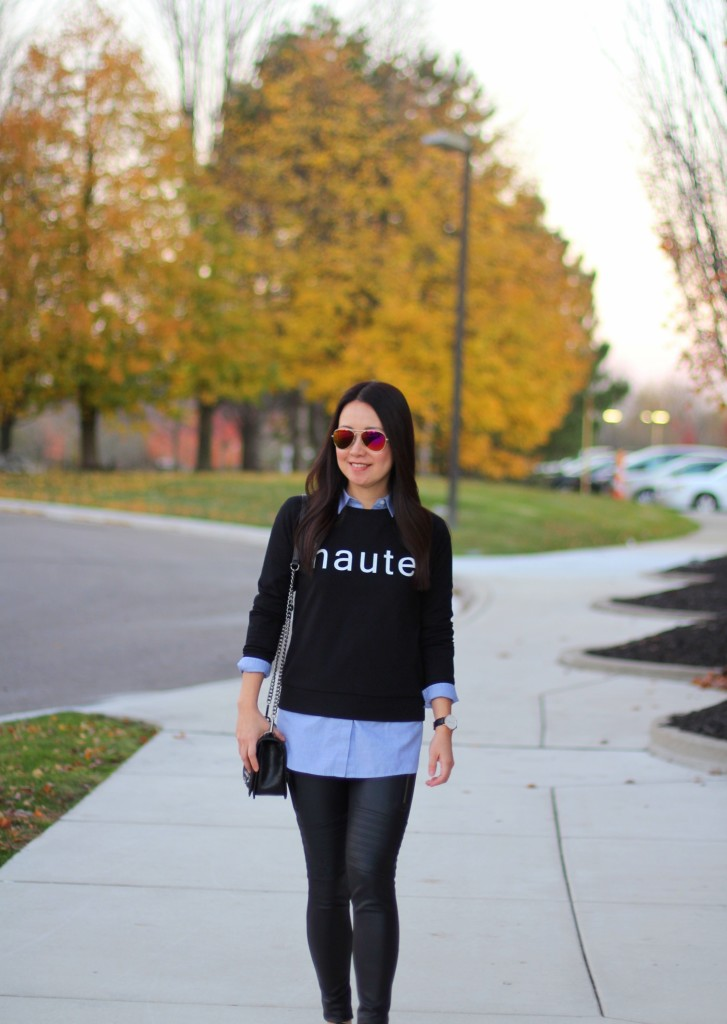 Banana Republic haute sweatshirt, chambray, Express moto leggings, Vans slip-ons, Rebecca Minkoff crossbody, fall must-haves, fall fashion, casual chic